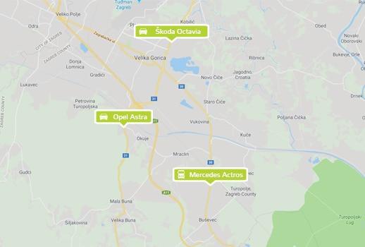 Pregled svih vozila na karti pomoću GPS-a
