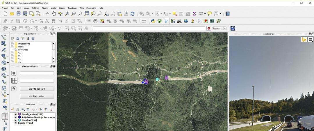 prikaz geolokacija tunela na hrvatskim autocestama