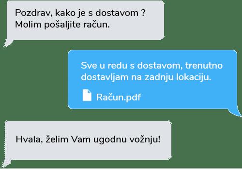 tekstualna komunikacija između centra i vozača